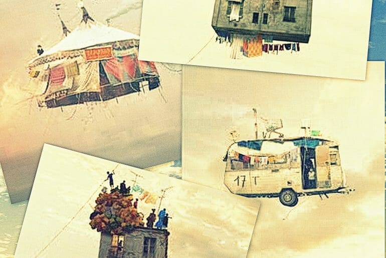 Kolaj Resimleri: Flying Houses Project - L. Cherere