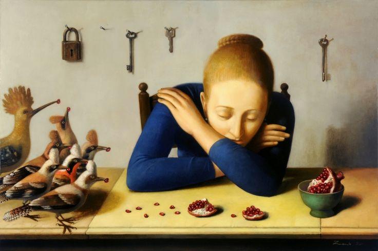 Woman, Birds & Pommegranate  by Ilya Zomb