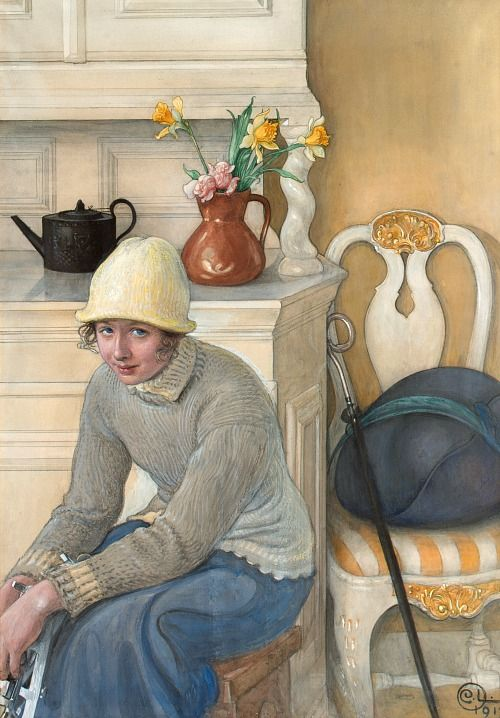 Girl with Ice Skates by Carl Larsson